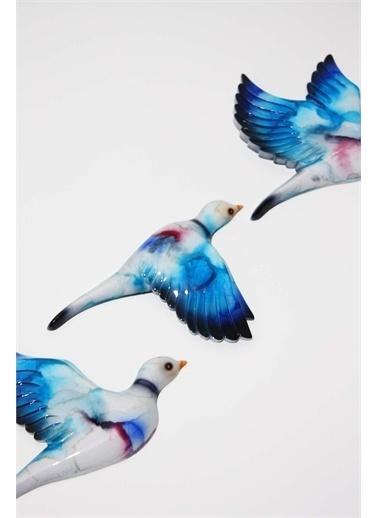 Raven Home Studio Rhs Artistik 3 Lü Kuş Duvar Dekortif Ürünleri Beyaz-Mavi One Sıze Mavi